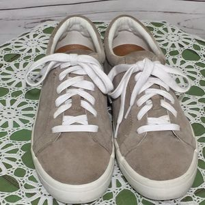 Frye Low Lace Taupe Suede Sneakers